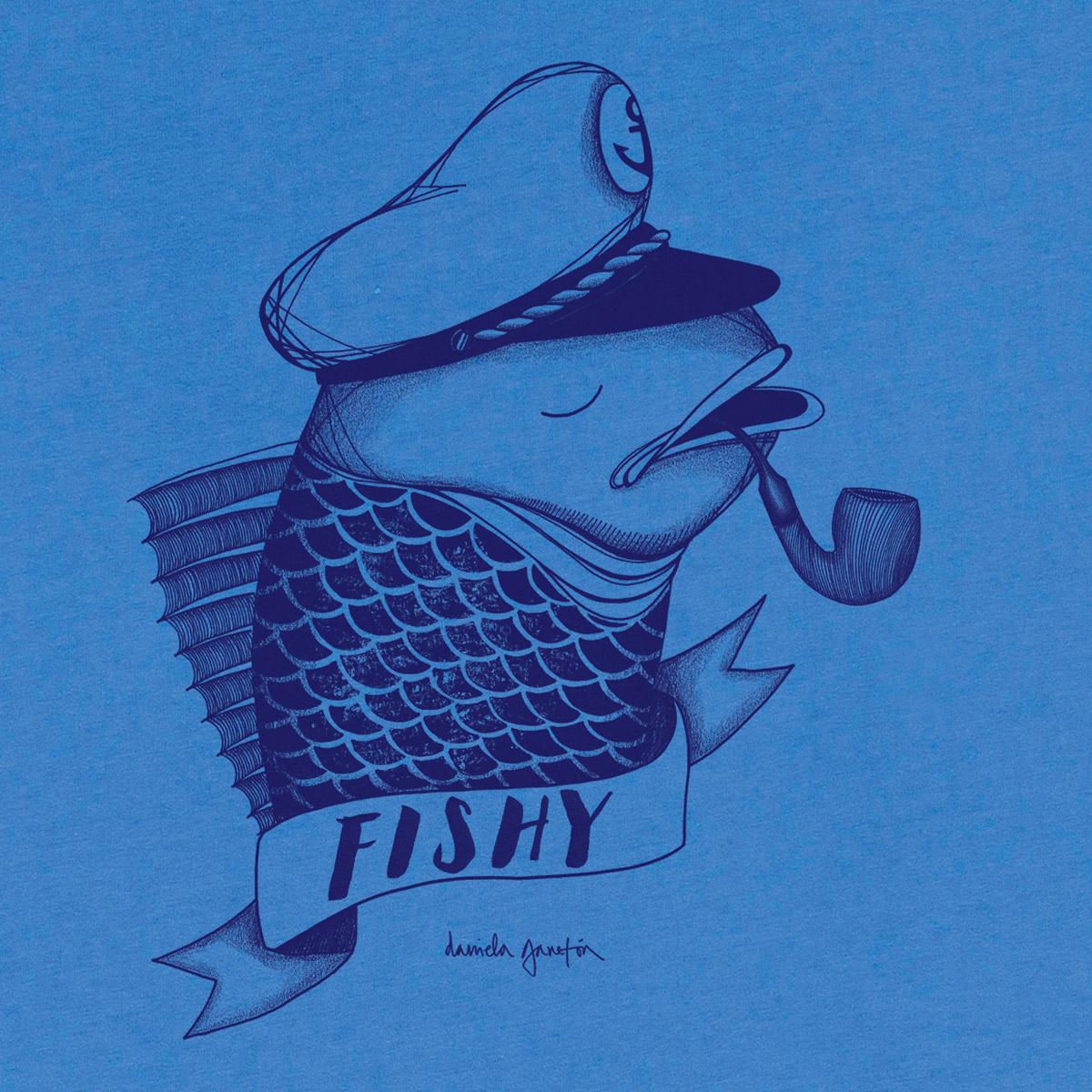 T-shirt en coton bio blue fishy - Bask in the Sun num 1