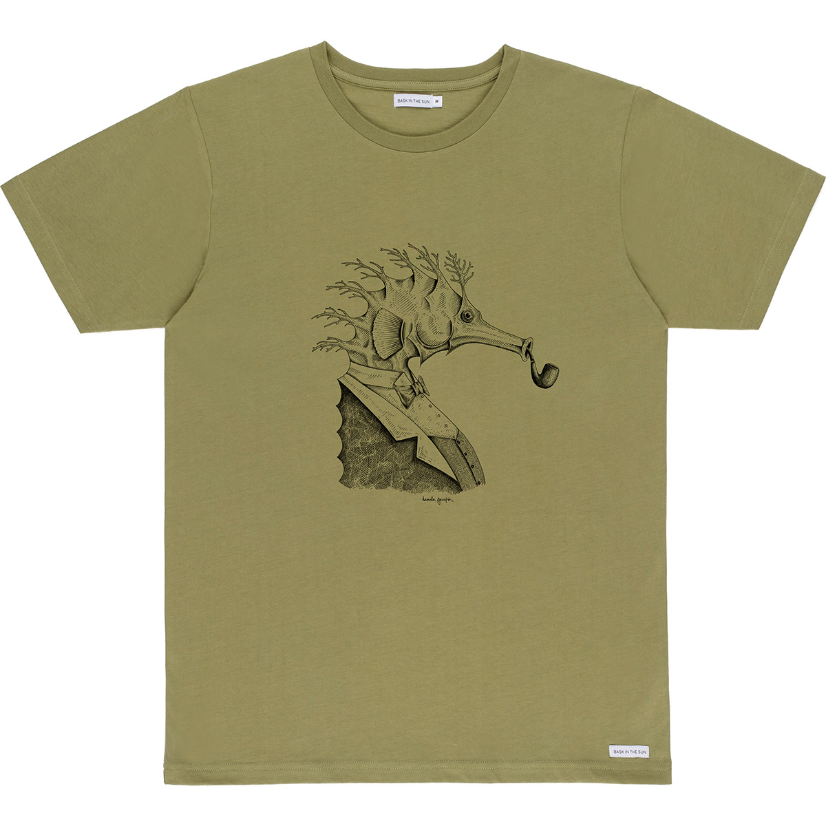 T-shirt en coton bio kaki hippocampe - Bask in the Sun