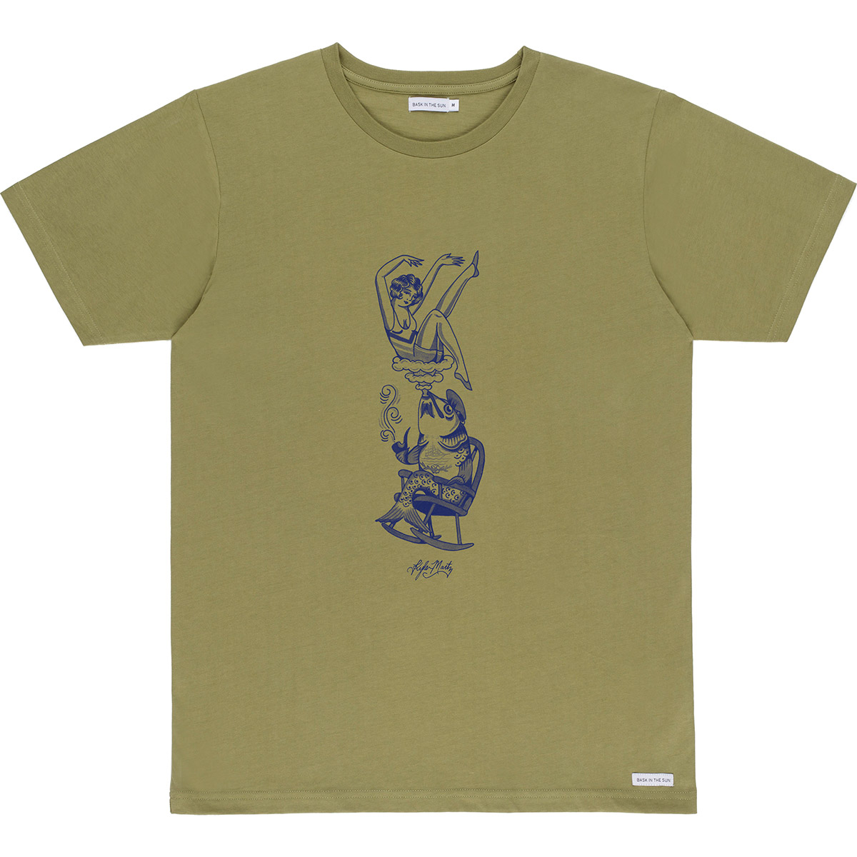 Bask in the Sun - T-shirt en coton bio kaki smoking fish