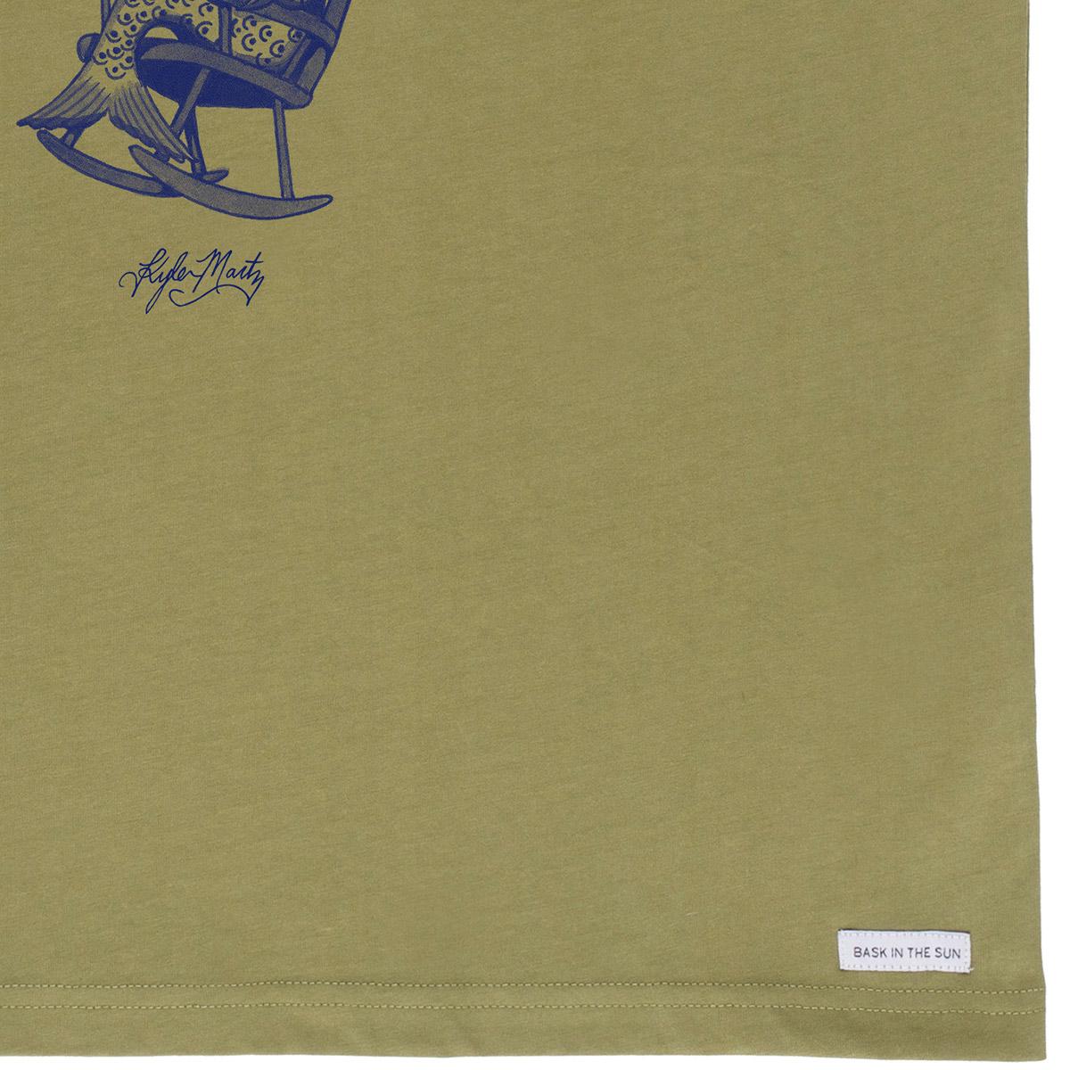 T-shirt en coton bio kaki smoking fish - Bask in the Sun num 3