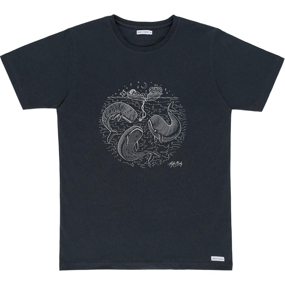 T-shirt en coton bio black radio cetace - Bask in the Sun num 0