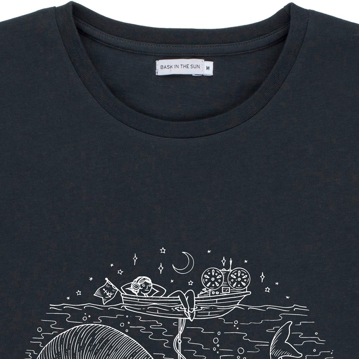 T-shirt en coton bio black radio cetace - Bask in the Sun num 2