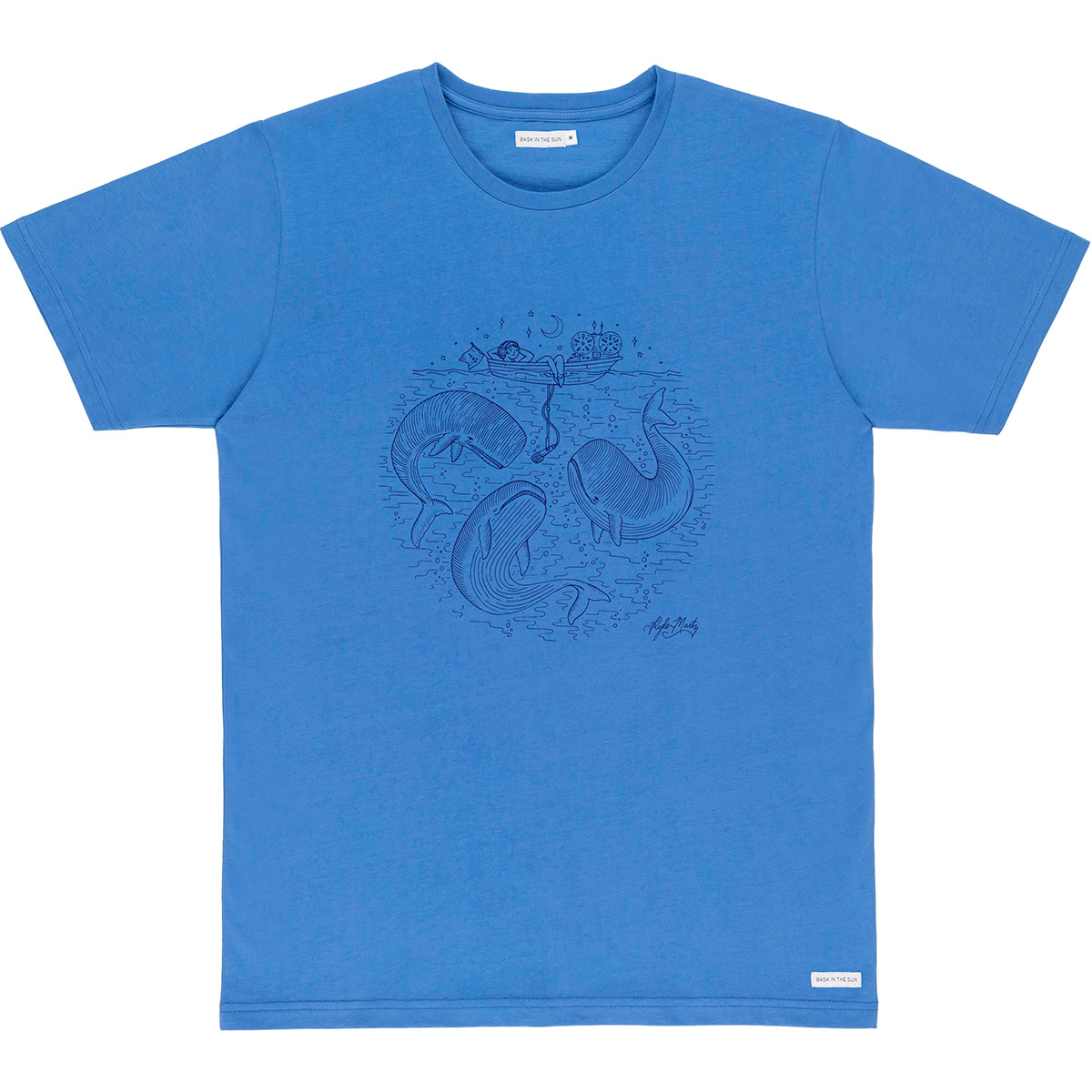 T-shirt en coton bio blue radio cetace - Bask in the Sun num 0